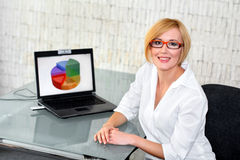Businesswoman smile at desk Royalty Free Stock Images