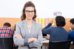 Businesswoman smile folded hands wear eyeglasses Royalty Free Stock Photo