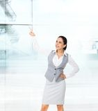 Businesswoman smile point finger copy space royalty free stock photo
