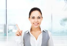 Businesswoman smile point finger empty copy space royalty free stock images