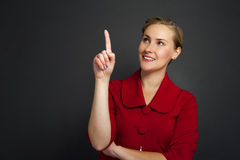 Businesswoman smile point finger to empty copy space, business w Royalty Free Stock Photography