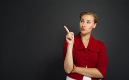 Businesswoman smile point finger to empty copy space, business w Royalty Free Stock Image