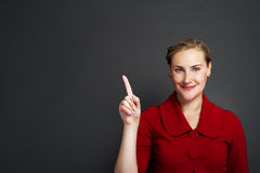 Businesswoman smile point finger to empty copy space, business w Royalty Free Stock Photo