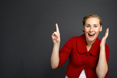 Businesswoman smile point finger to empty copy space, business w Royalty Free Stock Photos