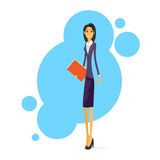 Businesswoman Smile, Standing Hold Folder Full Royalty Free Stock Images