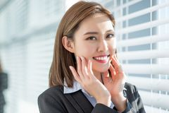 Businesswoman smile to you. With good skin and healthy tooth stock image