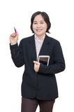 Businesswoman smiles over white background Royalty Free Stock Images