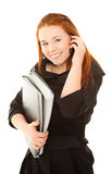 Businesswoman smiling and calling to telephone Stock Image