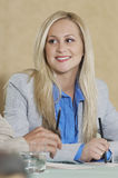 Businesswoman Smiling At Conference Table Stock Photos