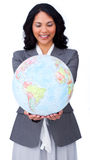 Businesswoman smiling at global business expansion Stock Images