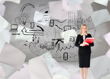 Businesswoman smiling and holding folders Royalty Free Stock Images