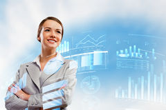 Businesswoman smiling. Image of attractive businesswoman against hightech background stock image