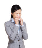 Businesswoman sneeze Royalty Free Stock Photography