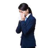 Businesswoman sneeze Royalty Free Stock Photos