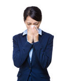 Businesswoman sneeze portrait Stock Image