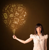 Businesswoman with a social media balloon Royalty Free Stock Photography