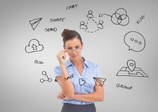 Businesswoman with social media business graphics drawings Stock Images