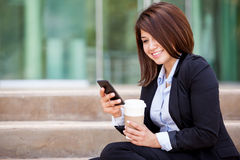 Businesswoman social networking Stock Photography