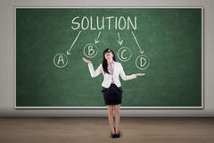 Businesswoman with solution choices Stock Photo