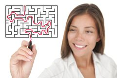 Businesswoman solving maze problem. Businesswoman solving maze / labyrinth problem royalty free stock image