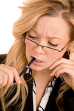 Businesswoman Solving a Problem Royalty Free Stock Images