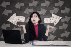 Businesswoman solving a problem Stock Image