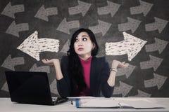 Businesswoman solving a problem Stock Image