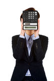 Businesswoman with SOS writing on calculator. Royalty Free Stock Photo
