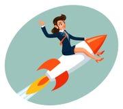 Businesswoman space rocket ship female business startup cartoon design vector illustration. Businesswoman space rocket ship business female startup cartoon vector illustration