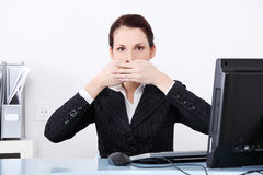 Businesswoman in the speak no evil pose. Stock Images