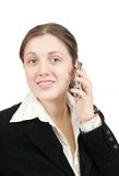 Businesswoman  speaking by mobile Stock Images