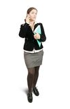 Businesswoman  speaking by mobile Stock Photo