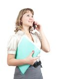 Businesswoman speaking by mobile over white Royalty Free Stock Image