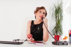 Businesswoman speaks by phone. Stock Image