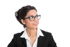 Businesswoman with spectacles looking sideways isolated on white Stock Photography