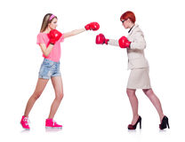 The businesswoman and sportsman boxing on Stock Images