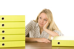 Businesswoman With Stack Of Folders Stock Photos