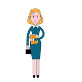 Businesswoman Stand Holding Documents, Business Woman Full Length Royalty Free Stock Images