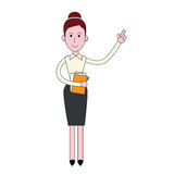 Businesswoman Stand Holding Documents Point Finger To Copy Space Full Length Royalty Free Stock Photo
