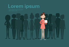 Businesswoman Stand Out From Crowd, Spotlight Hire Mix Race Human Resource Recruitment Candidate People Group Business. Team Vector Illustration royalty free illustration
