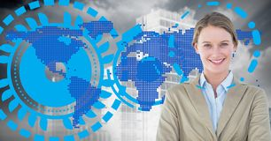Businesswoman standing against digitally generated world map background. Digital composition of businesswoman standing against digitally generated world map Stock Image