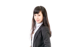 Businesswoman standing against isolated white Stock Image