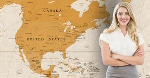 Businesswoman standing with arms crossed against world map in background. Composite image of businesswoman standing with arms crossed against world map in stock illustration