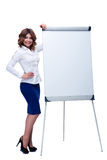 Businesswoman standing with blank flipchart Stock Images