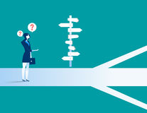 Businesswoman standing confused by direction sign. Concept business illustration. Vector flat Stock Photo
