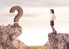 Businesswoman on rock mountain with a question mark Royalty Free Stock Photo