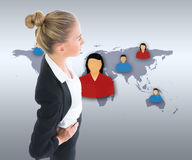 Businesswoman standing with hands on hips Stock Image
