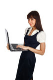 Businesswoman standing with laptop Royalty Free Stock Photography