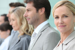 Businesswoman standing in a line Stock Photos