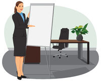 Businesswoman standing next to flip board. And pointing hand. She is smiling Royalty Free Stock Images